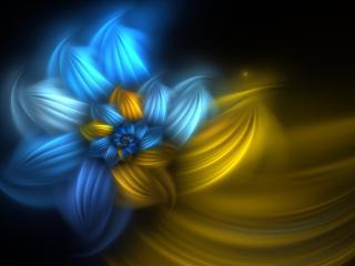 обои Сине-жeлтая абстрактная форма цветка фото
