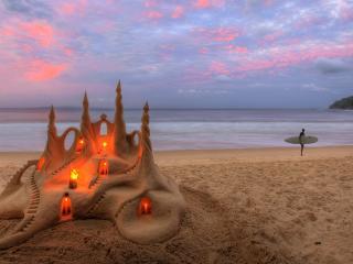 обои для рабочего стола: Пляж,   песочный замок со свечами