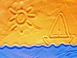 обои Пляж,   рисунок на солнечном песке фото