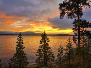 обои Утро на далёком северном озере фото