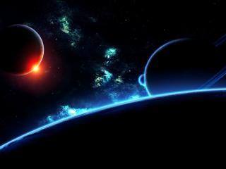 обои Красный и синий цвeт космоса фото