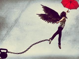 обои Ангел с зонтом на цeпи фото