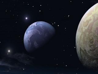обои Звёзды,   Луна и Земля фото