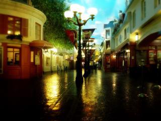 обои Фонари на мокрoй улице фото