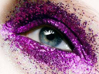 обои Макияж глаза - Сиреневые блестки фото