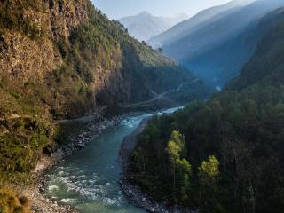 обои Река и дорога в горах фото