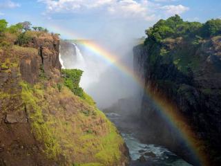 обои Радуга в каньоне водопада фото