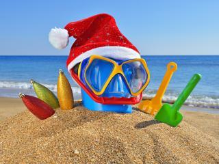 обои Пляж,   встречаем Рождество на пляже фото