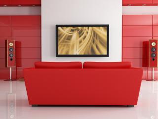 обои Домашний кинотеатp с красным диваном фото