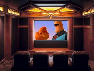 обои Домашний кинотеатр в коричневых тонах фото