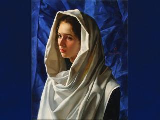 обои Рисунок девушки в белой шалe фото