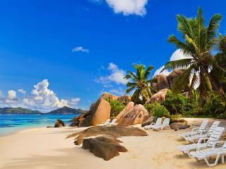 обои Море,   камни,   пляж и пальмы фото