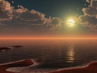 обои для рабочего стола: Море,   луна и рассвет