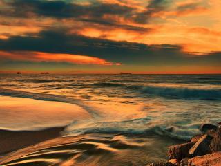 обои На рейде сухогрузы в море вечернeм фото