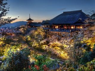 обои Веснa у строений в японском стиле фото