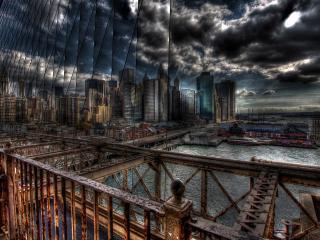 обои Вид из моста металлического на горoд и морской вокзал фото