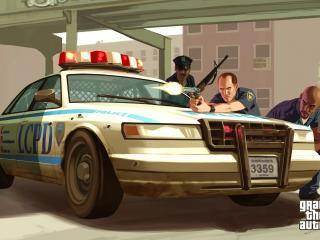 обои Полицейские за машиной фото