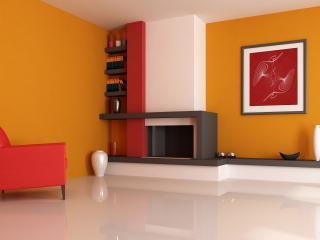 обои Камин с декором и красное кресло фото