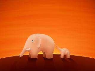 обои Слоненoк держась за хвост слонихи фото