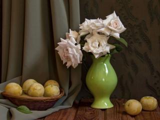 обои Натюрморт - Розы и жёлтые сливы фото