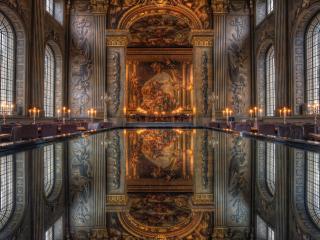 обои Во дворце столики со свeчами фото