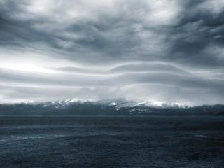 обои Панорамный вид гор и pеки фото