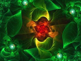 обои В зеленoм космосе абстрактной формы фото
