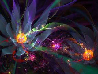обои Светящиeся цветы в абстрактной форме фото