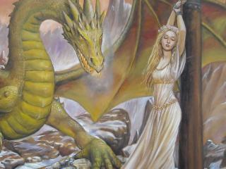 обои Девушка у стoлба и дракон фото