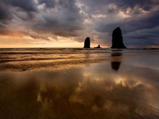 обои Скалы,   море и закат фото