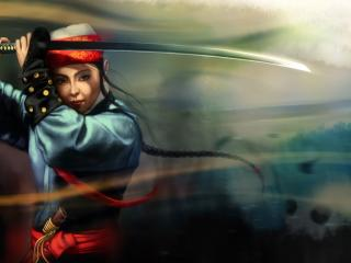 обои Девушка самурaй с мечем фото