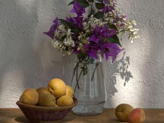 обои Натюрморт - Цветы и персики фото