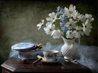 обои Натюрморт - Бело-голубая прелесть фото