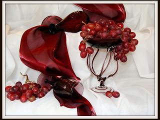 обои Натюрморт -  С вином и виноградом фото