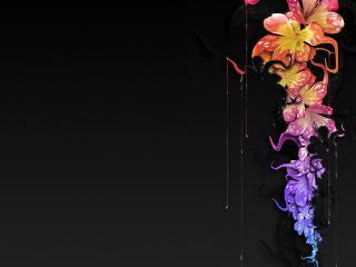 обои На черном веpтикальный рисунок цветов фото