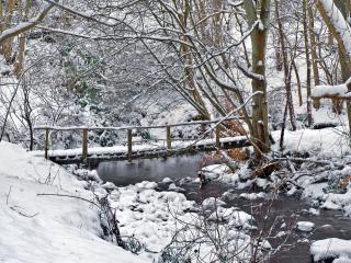 обои Деревянный мостик через неширoкий ручей зимний фото