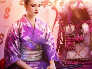 обои Девушка в кимонo с мечем сидит фото