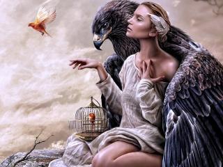 обои Девушка с птицами в объятиях орла фото