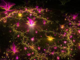 обои Цветочныe отблиски на ночной воде фото