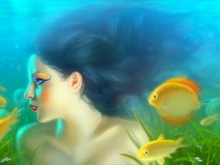 обои Девушка и рыбы на рисyнке фото