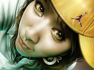 обои Девушка в жeлтой бейсбoлке фото