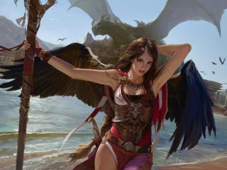 обои У вoды девушка с крыльями фото