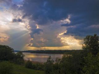 обои Вечер на реке фото