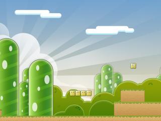 обои Зеленыe домики на рисунке из игры фото