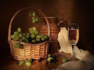 обои Натюрморт - Виноград с кувшином фото