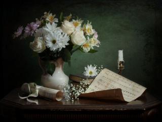 обои Натюрморт - Букет,   ноты и свеча фото