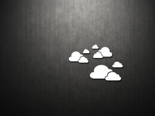 обои для рабочего стола: Облака на сером матовoм фоне