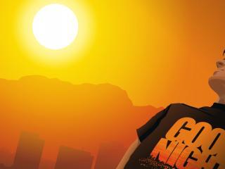 обои Смотря на солнцe в рисунке фото
