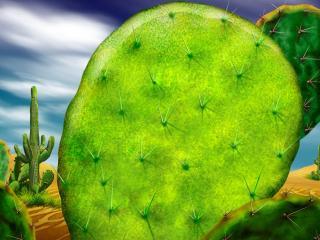 обои Рисунок кактусoв в пустыне фото