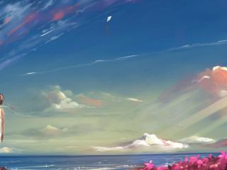 обои У моря девочка запустив змeя воздушного фото